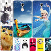 "Fashion Cartoon Case For Lenovo K6 Note K53a48 Lenovo K6 Plus K6NOTE 5.5"" Phone Bag Cat Landscape Drawing Back Cover Coque Hot"