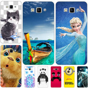 Fashion Cartoon Case For Samsung Galaxy A7 2015 A700 A700F Phone Bag Cat Landscape Drawing Back Cover Hot