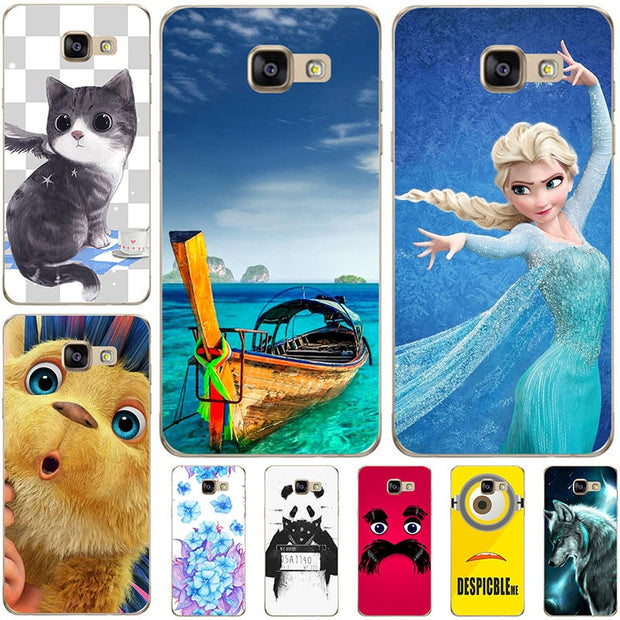 Fashion Cartoon Case For Samsung Galaxy A8 2016 A8100 A810 Phone Bag Cat Landscape Drawing Back Cover Hot
