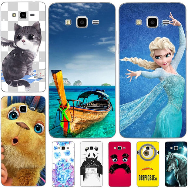 Fashion Cartoon Case For Samsung Galaxy Grand Prime G530 G530H G5306W G5309W G531H Phone Bag Cat Landscape Drawing Back Cover