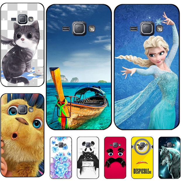 "Fashion Cartoon Case For Samsung Galaxy J1 2016 J120 J120F J120H Duos 4.5"" Phone Bag Cat Landscape Drawing Back Cover Hot"