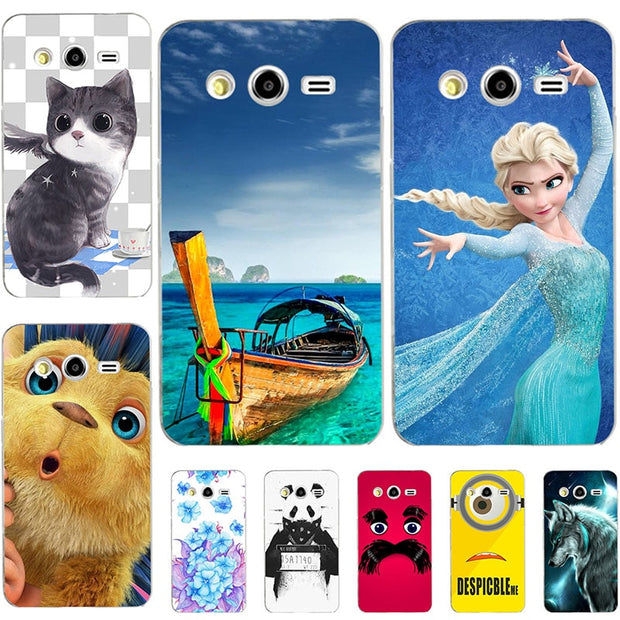 "Fashion Cartoon Case For Samsung Galaxy J1 Ace J110 J110F J1 Ace Neo J111F J110 J110H 4.3"" Bag Cat Landscape Drawing Back Cover"