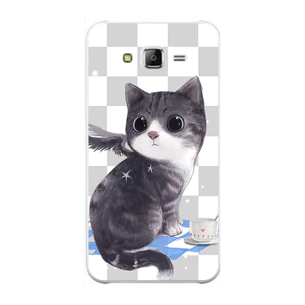 "Fashion Cartoon Case For Samsung Galaxy J7 2015 J700 J700F J7 Neo Core 5.5"" Phone Bag Cat Landscape Drawing Back Cover Hot"