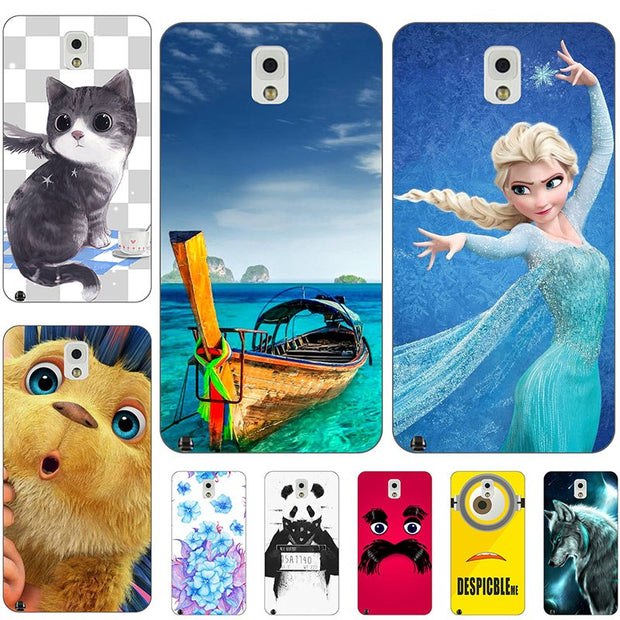 Fashion Cartoon Case For Samsung Galaxy Note 3 Note3 N9000 N9005 Phone Bag Cat Landscape Drawing Back Cover Hot