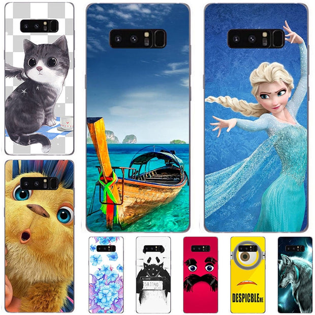 Fashion Cartoon Case For Samsung Galaxy Note 8 Note8 Phone Bag Cat Landscape Drawing Back Cover Hot