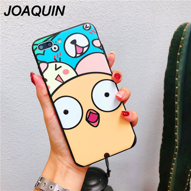 Fashion Cartoon Cute Little Yellow Chicken Soft TPU Relief Case For IPhone X 6 6s 7 8 Plus Back Phone Full Cover Case Capa