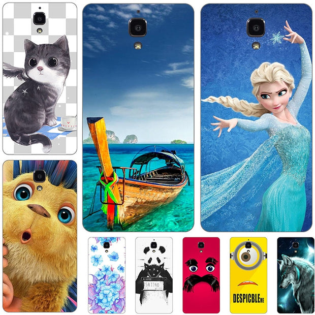 "Fashion Cartoon Printing Case For Xiaomi Mi4 M4 Mi 4 Mi 4W 5.0"" Phone Bag Cat Landscape Drawing Back Cover Coque Hot"