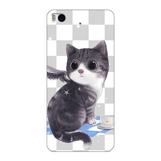 "Fashion Cartoon Printing Case For Xiaomi Mi5s Mi 5s 5.15"" Phone Bag Cat Landscape Drawing Back Cover Coque Hot"