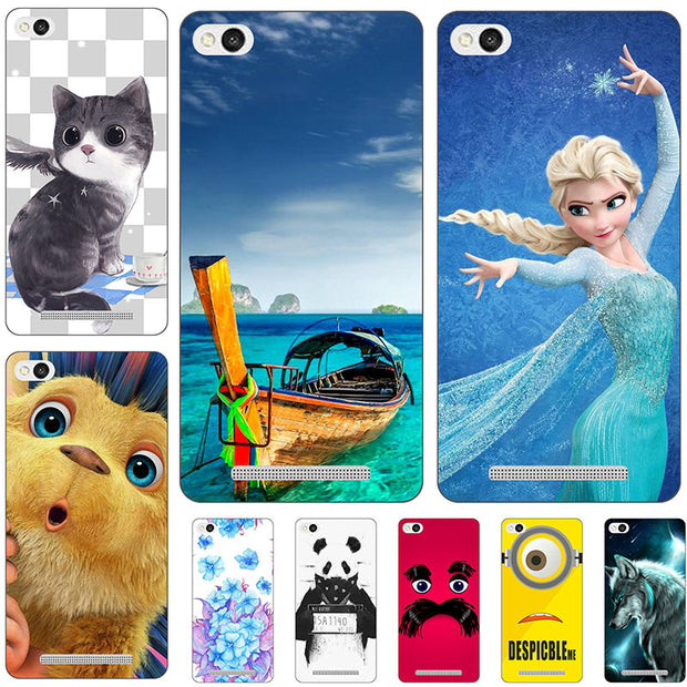 "Fashion Cartoon Printing Case For Xiaomi Redmi 3 5.0"" Redmi3 Phone Bag Cat Landscape Drawing Back Cover Coque Hot"