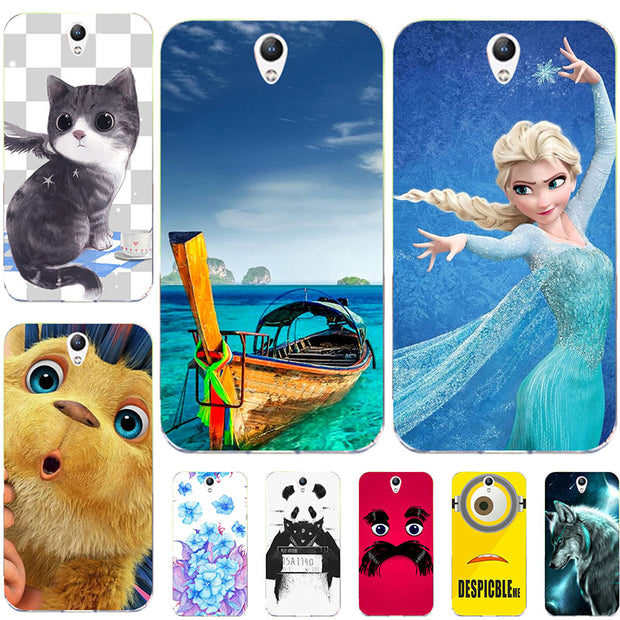 "Fashion Cartoon Printing Soft Case For Lenovo Vibe S1 S1A40 S1C50 5.0"" Phone Bag Cat Landscape Drawing Back Cover Coque Hot"