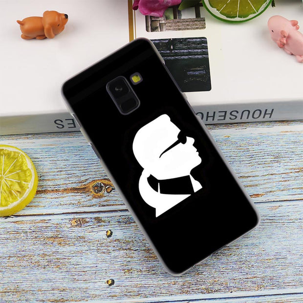 Fashion Karl Lagerfeld Green Transparent Case For Samsung Galaxy A3 A5 A9 A7 A6 A8 Plus 2018 2017 2016 Star A6S Note 9 8 Cover