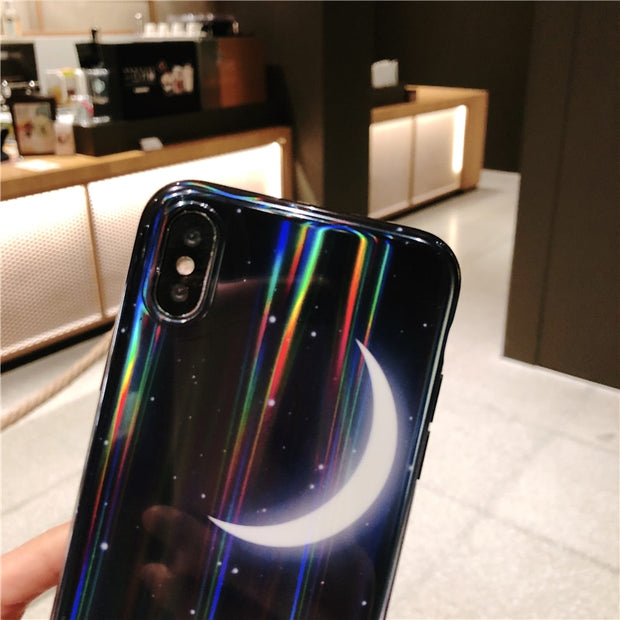 Fashion Laser Starry Sky Moon Phone Case For Iphone X XR XS XS Max 6 6s 6 6s Plus 7 7plus 8 8plus Black Soft TPU Back Cover Case