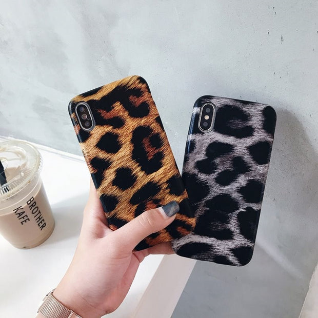 Fashion Leopard Print Phone Case For Iphone XS X Cute Case For Iphone 6 6s 7 8 Plus Back Cover Luxury Soft Cases Colorful Capa