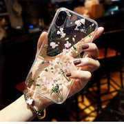 Fashion Real Dried Flower Clear Soft TPU Cases For IPhone X XS Max XR Case Transparent Soft Phone Cover For IPhone 6 6S 7 8 Plus