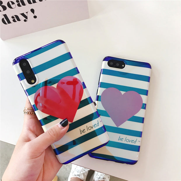 Fashion Red Love Heart Phone Case For OPPO R9 R9P R9S Plus Simple Striped Luxury Blu-ray Back Cover For Oppo R11 R11S R11P Cases