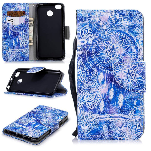 Fashion Soft Retro Flip Leather Phone Cases For Redmi 4X Capa Paint Bag Wallet With Cards Slot Case For Funda Redmi 4X Cover