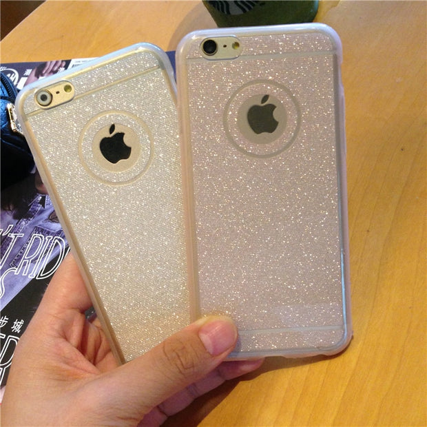 Fashion Women's Glitter Phone Cases For IPhone 6 Case Transparent Ultra Thin Soft TPU Coque Back Cover For IPhone 6s Plus Capa