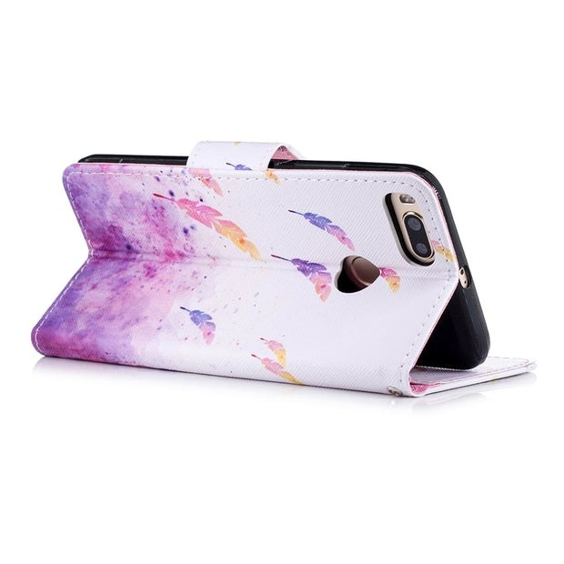 Flip Lithe Leather Wallet Stand Cases For Xiaomi 5x Capa Patterned Purple Feather Luxury Case For Xiaomi A1/5X Cards Slot Cover