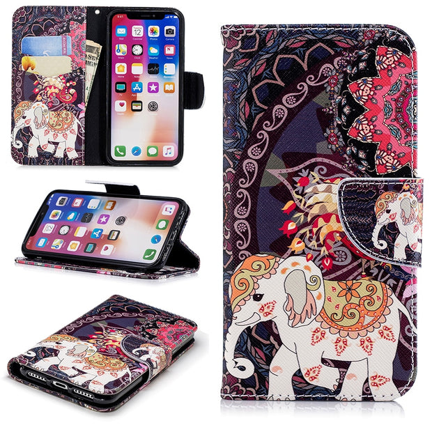 Flip Stand Case For IPhone X XR XS Max Luxury Wallet Phone Cases For IPhone 7 8 6 6S Plus 5 5S SE Butterfly Cover Bag B117