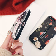 Floral Patterned Case For IPhone X 7 6 6s 8 Plus Hide Stand Holder Finger Ring Soft Silicon Back Cover Coque For IPhone 7 Case