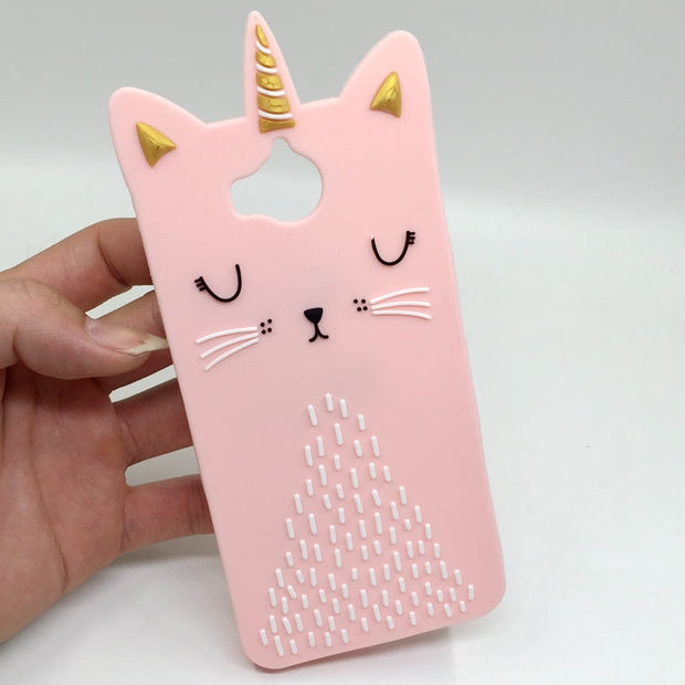 For Coque Huawei Y6 2017 Case Cover Silicone Case For Huawei Y5 2017 Y6 2017 3D Cute Pink Cat Soft Etui Fundas Telefoon Hoesjes