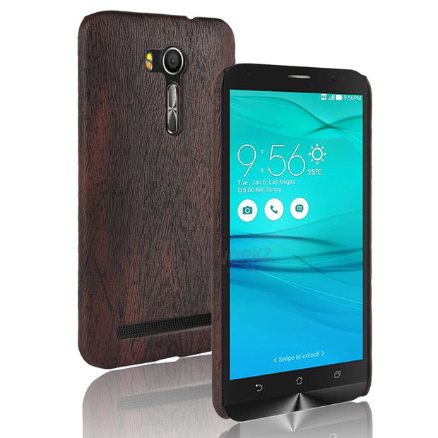 For Fundas Zenfone GO Case Cover Wood Grain PU Leather Protective Hard For Coque Asus Zenfone Go ZB551KL Phone Cases Capa