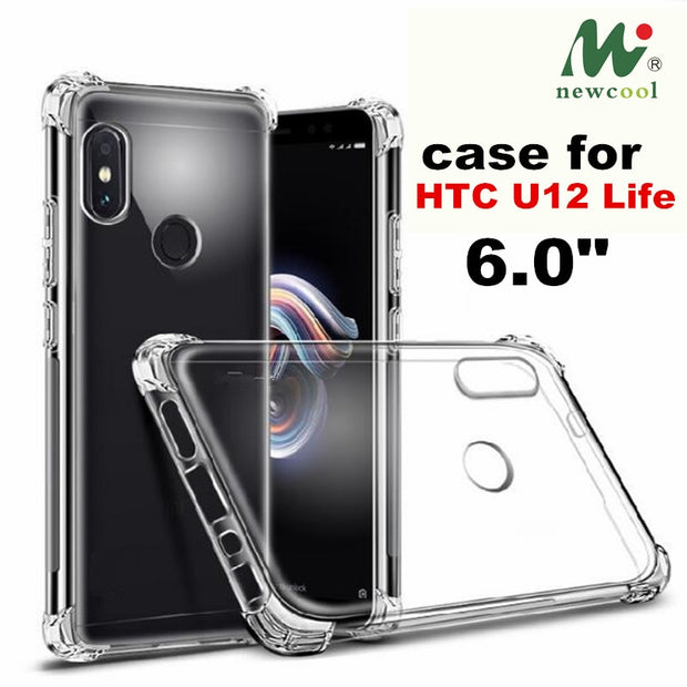"For HTC U12 Life Cell Phone Four Edge Shatter-Proof Soft Clear Silicone TPU Cover Case For HTC U12 Life 6.0"" Phone Case Cover"