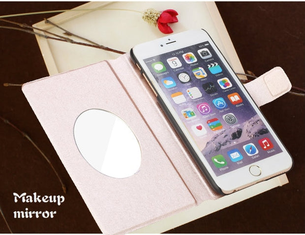 For Huawei Honor 6C Case 5.0 Inch Luxury Mirror PU Leather Phone Case For Huawei Honor 6C Case Book Flip Protective Cover Bag