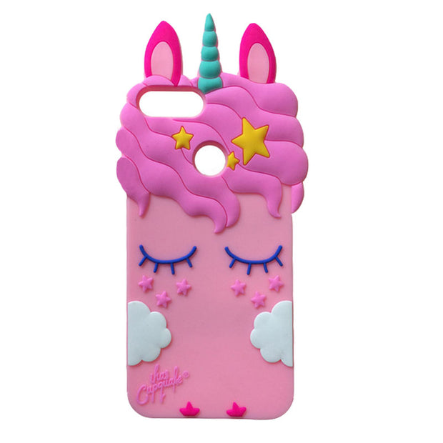 For Huawei P Smart Case Cute 3D Cartoon Soft Silicone Unicorn Cat Stitch Protective Phone Back Cover For Huawei P Smart/Enjoy 7S