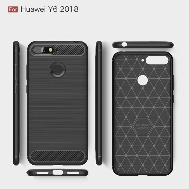 "For Huawei Y6 2018 5.7"" Carbon Fiber Case Anti-knock Soft TPU Brushed Rugged Rubber Silicone Hybrid Phone Cases Cover Case"