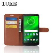 For Motorola Moto G6 Plus Flip Litchi Grain Wallet Stand Case PU Leather Phone Case For Moto G 6 Plus Cover Card Slot