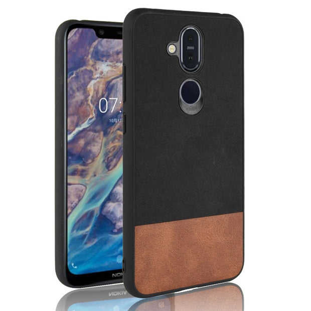 For Nokia 7.1 Plus Case Nokia 7.1Plus Case Bi-color SPlicing PU Leather PC+TPU Hybrid Back Case For Nokia X7 2018 Cover Shell