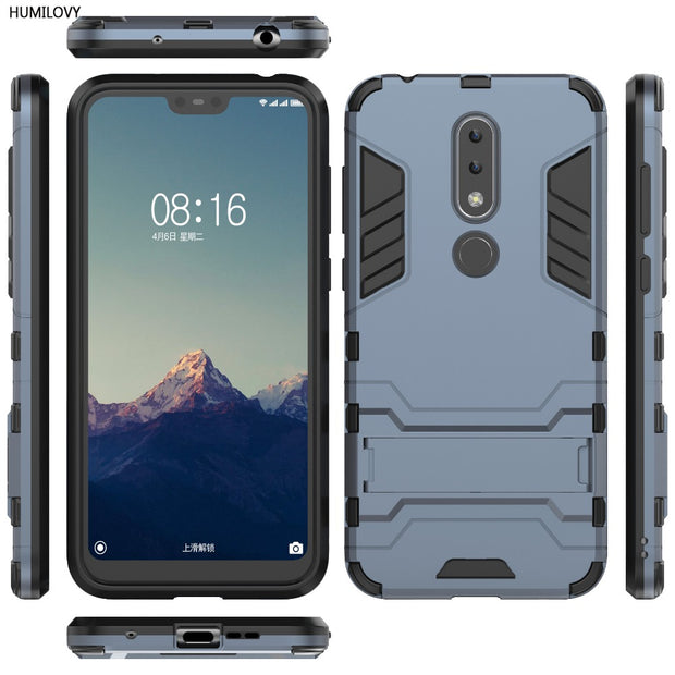 more photos cd147 74cee For Nokia X6 Case For Nokia 6.1 Plus Cover Shockproof Robot Silicon Rubber  Hard Back Phone Armor Cover For Nokia X6 TA-1099 Case
