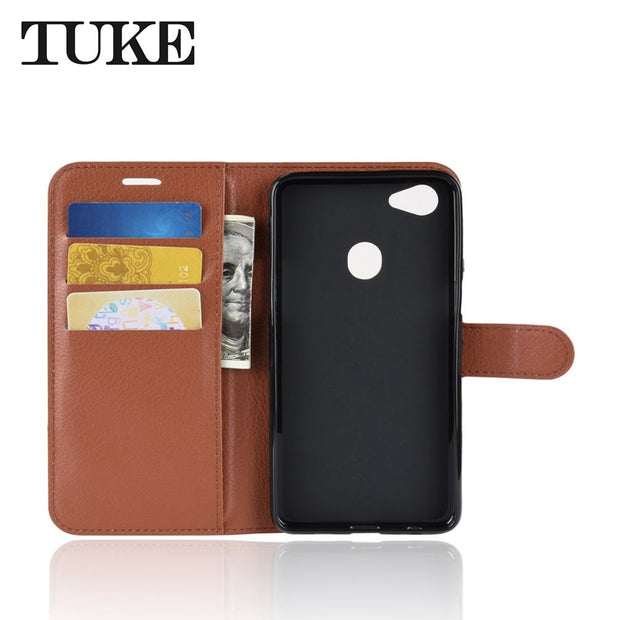 For OPPO F7 Flip Litchi Grain Wallet Stand Case PU Leather Phone Case For OPPO F 7 Cover Card Slot