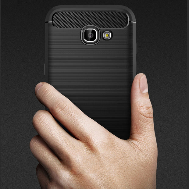 For Samsung Galaxy A3 A5 A7 2017 A320 A520 A720 2017 Shockproof Phone Case Luxury Brushed Soft Silicone Carbon Fiber Case Cover