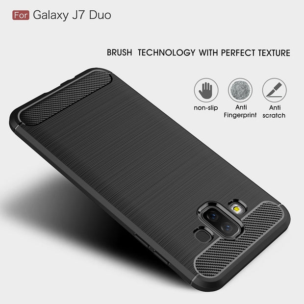 "For Samsung Galaxy J7 Duo SM-J720F 5.5"" Carbon Fiber Anti-knock Soft TPU Brushed Rugged Rubber Silicone Hybrid Phone Cover Case"