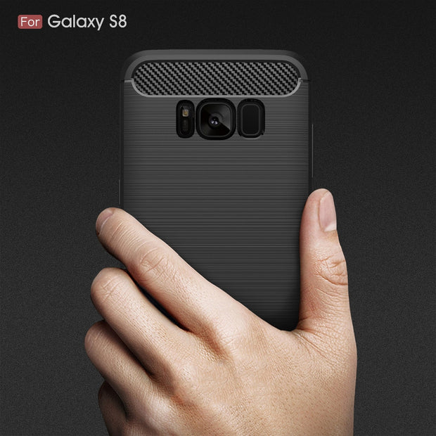 For Samsung Galaxy S 9 8 7 6 S6 S7 S8 S9 Plus Edge S9+ Note Shockproof Soft Silicone TPU Carbon Fiber Back Case Cover Bag Fundas
