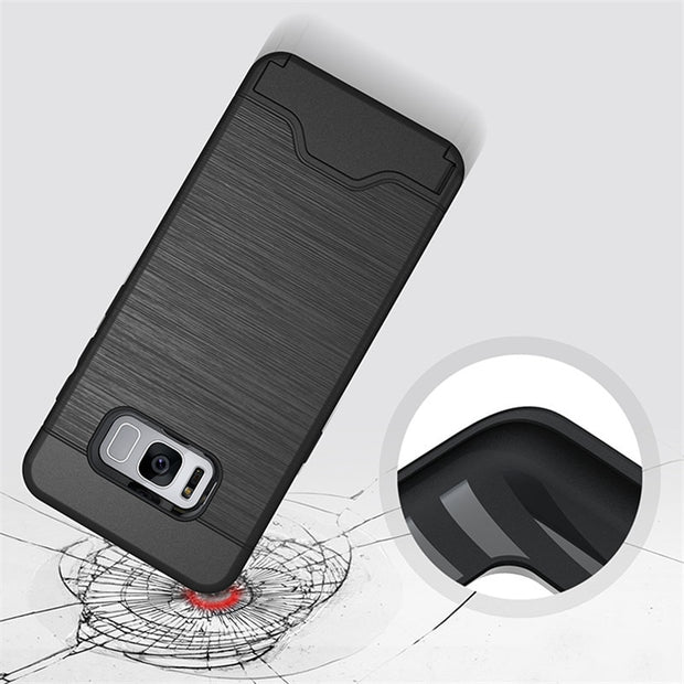 For Samsung Galaxy S8 Plus Case Luxury Hybrid Credit Card Pocket Hidden Pouch Back Cover For Galaxy S7 Edge Stand Holder Coque