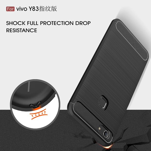 For VIVO Y83 / VIVO Y83A Fingerprint Carbon Fibre Case Slim Rugged Armor Shockproof Soft Rubber Silicone Phone Cases Cover Case