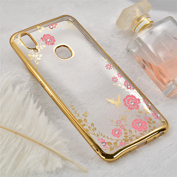 For VIVO Y85 Case Secret Garden Soft TPU Silicone Cover For Vivo V9 Back Phone Cases Y85 Soft TPU Diamond Flowers Coque (L1121)