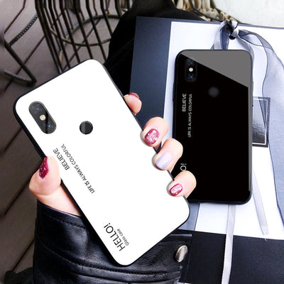 For Xiaomi Mi Mix 3 Case Luxury Hard Tempered Glass Gradient Protective Back Cover Case For Xiaomi Mi Mix3 Full Cover Shell
