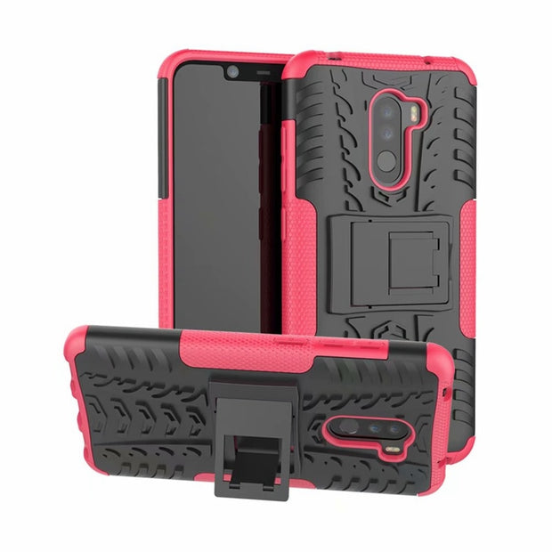 For Xiaomi Pocophone F1 Case Armor Stand Hybrid Silicon Pocophone F1 Rugged Case For Xiaomi Pocophone F1 Case Pocophone F1 Cover