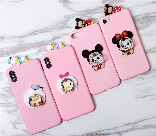 For Xiaomi Redmi 4X 4A Case Cute Minnie Kitty Stitch Cartoon Grip Stand Holder Soft Phone Case For Xiaomi Redmi Note 4 X Note 5A