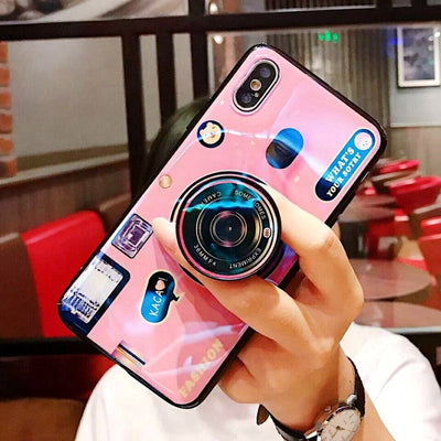For Xiaomi Redmi Note 5 Retro Camera Phone Case Soft TPU Silicone Cute Camera Stand Holder Cover For Redmi Note 5 Pro Case