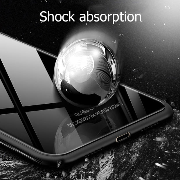 size 40 2d113 8f166 For Xiaomi Redmi Note 6 Pro Case Luxury Glossy Tempered Glass ...