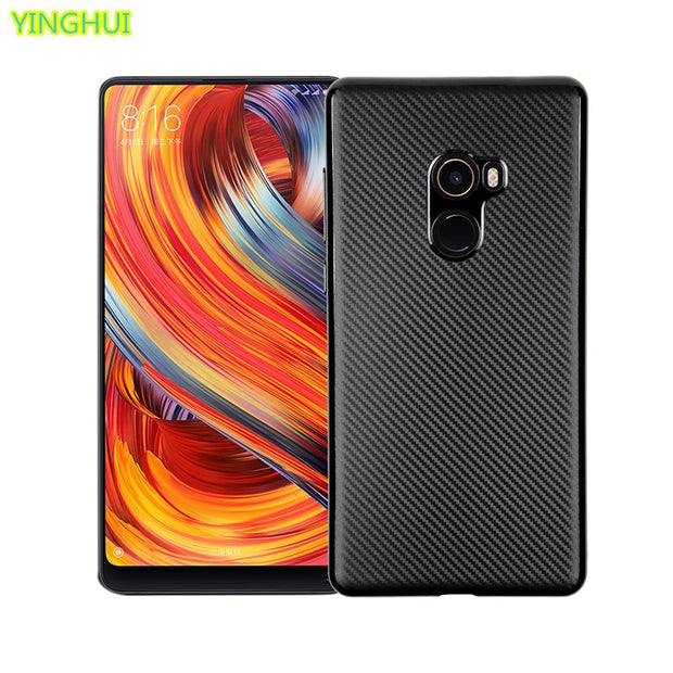 For Xiaomi Mi Mix 2 Case Carbon Fiber Soft Silicone TPU Case For Xiaomi Mix 2 Phone Back Cover Protector Case