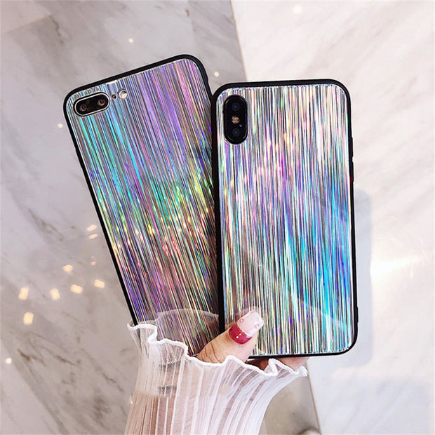 For IPhone 6 6S 7 8 Plus X Bling Mirror Laser Glass Phone Case Luxury Holographic Rainbow Stripe TPU Cover