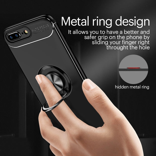 For IPhone X 7 8 Plus Luxury Magnetic Finger Ring Bracket Case For IPhone 6S Plus 5S SE Soft TPU Anti-knock Full Back Cover Case