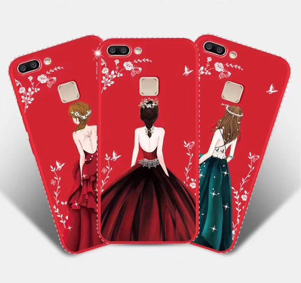 For IPhone X Cases TPU Soft Back Cover Phone Case For IPhone 7 7 Plus 8 8 Plus 6 6S 5S Silicone 3D Pattern Girl Dress Coque Capa
