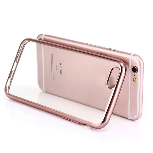 For Iphone 6 6S 7 Plus Case Clear Transparent Ultra Thin Electroplating Soft TPU Phone Cases Back Cover Shells Coque